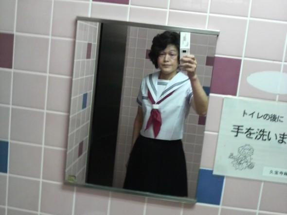久宝寺公園にてセーラー服女装